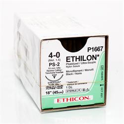 """4.0 Ethilon Pliable Black PS-2 needle 18"""""""